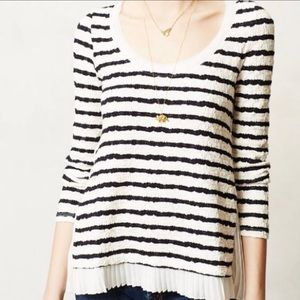 Anthro Postmark Pleated Pullover Sweater